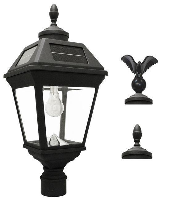 Imperial Solar Light with GS Solar Light Bulb with Eagle & Acorn Finials