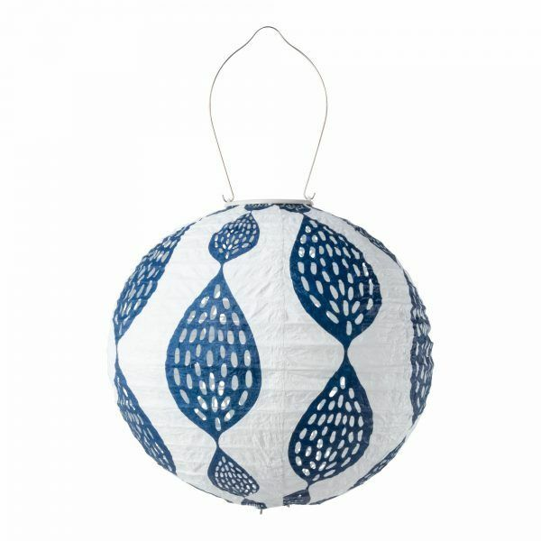 Soji Stella Tyvek Print and Punch - Indigo Leaf Globe 12 Solar Lantern