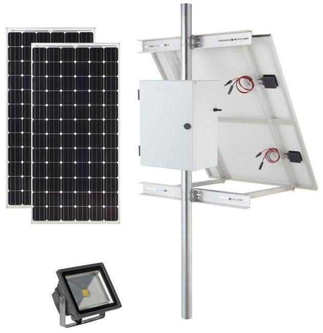 Earthtech Products Solar Sign & Landscape Light Kit - 1 Light (3600 Lumens), 2 - 100W Solar Panel, (1) 140 Ah Battery - 14 Hour Run Time