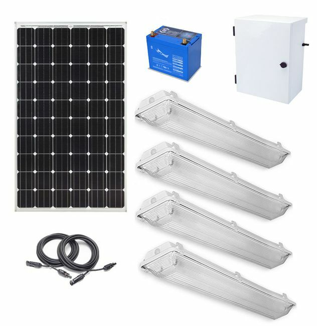 Earthtech Products Shipping Container Lighting Kit 4 - (4) Lights (12,400 Lumens), (1) 280W Solar Panel, (1) 140 Ah Battery