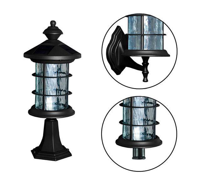 Classy Caps Black Aluminum Hampton Solar Lamp - With Pole, Post & Wall Mount Kit