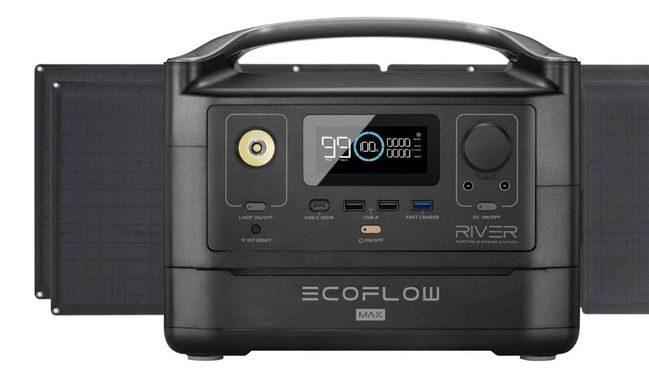 EcoFlow River Max Portable Solar Generator Kit - With (2) 110 Watt Solar Panels