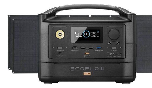 EcoFlow River Pro Portable Solar Generator Kit - With (2) 110 Watt Solar Panels