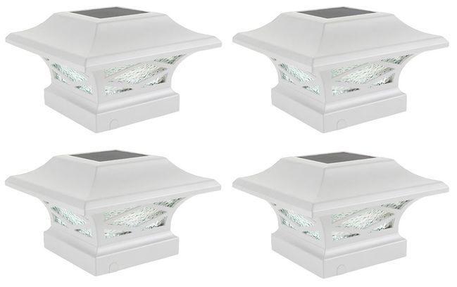 Classy Caps Kingsbridge White Dual Lighted Solar Post Cap - 4 Pack