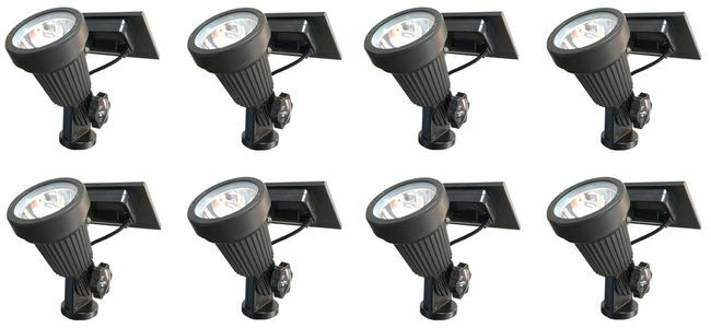 8 Piece Residential Warm White LED Solar Spotlight Landscape Lighting Kit with Stakes