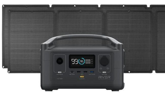 EcoFlow River Portable Solar Generator Kit - With (2) 110 Watt Solar Panels