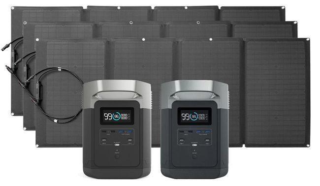 EcoFlow Delta Solar Generator Refrigerator Kit with 480 Watts of Solar