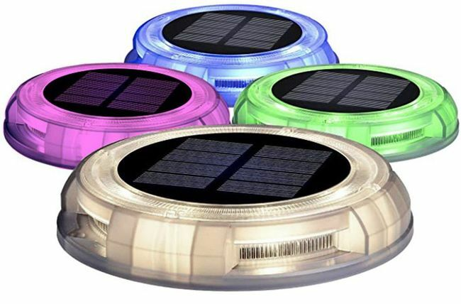 Color Selectable Solar LED Integrated Deco Path Lights - 4 Pack