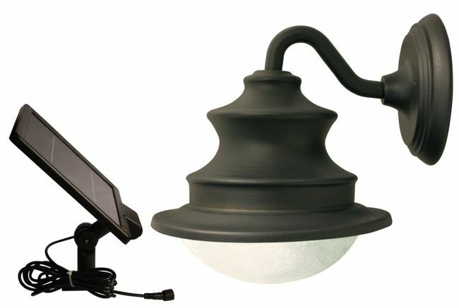 Solar Barn Light With Gooseneck Wall Mount for Patios, Garages, Sheds and Greenhouses