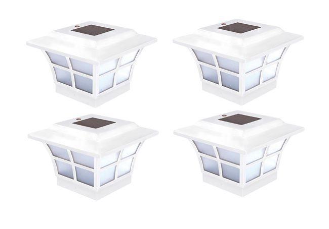 Set of 4 Classy Caps Prestige Solar Post Cap for 4x4 Posts
