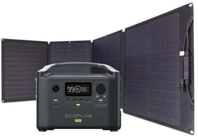 EcoFlow River Pro Portable Solar Generator Kit - Includes 110 Watt Solar Panel