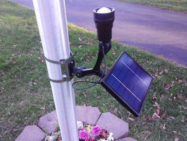 Commercial CREE Solar Flagpole Light - 600-1200 Lumen