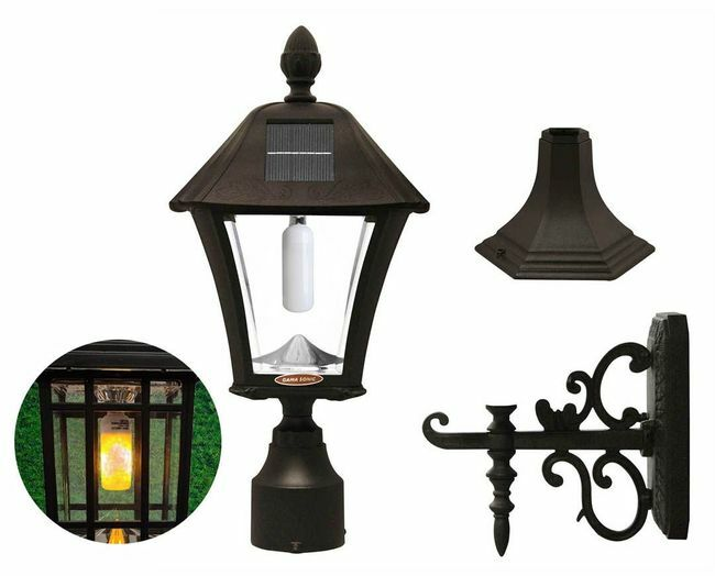 Gama Sonic Flicker Flame Baytown Bulb Solar Light - With Pole, Post & Wall Mount Kit - Black