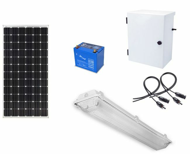 Earthtech Products Shipping Container Lighting Kit - 1 Light (3100 Lumens), 100W Solar Panel, 55 Ah Battery