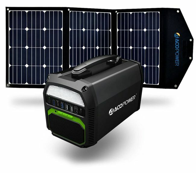 ACO Power 462Wh/500W Portable Solar Generator Kit with Integrated Bluetooth Speaker and 120 Watt Solar Panel