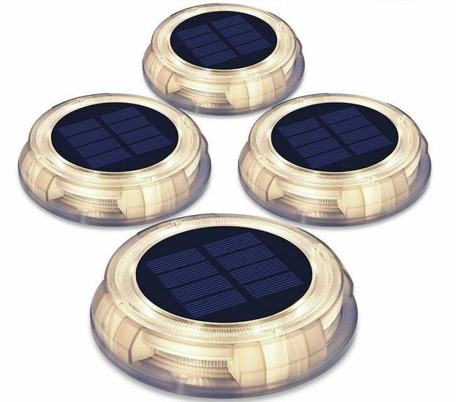 Warm White Solar LED Integrated Deco Path Lights - 4 Pack