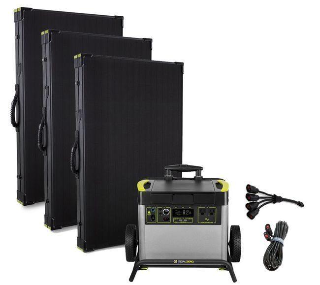 Goal Zero Yeti 3000X Lithium Lightweight Solar Generator Maximum Intake Kit with (3) Boulder 200 Watt Panels