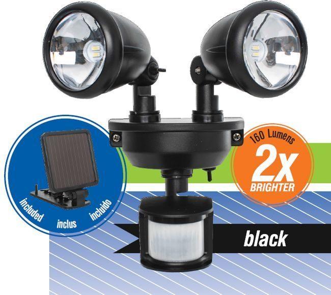 Solar Powered Dual Head LED Security Spotlight