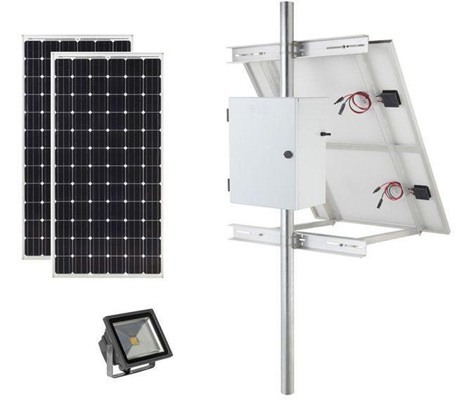 Earthtech Products Solar Sign & Landscape Light Kit - 1 Light (6000 Lumens), 2 - 100W Solar Panels, 1 - 140 Ah Battery - 8 Hour Run Time