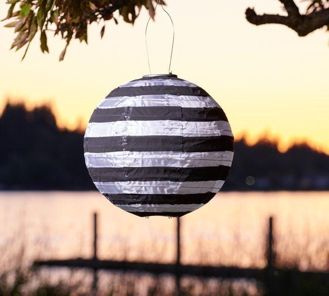 Black and White Stripe Solar Lantern