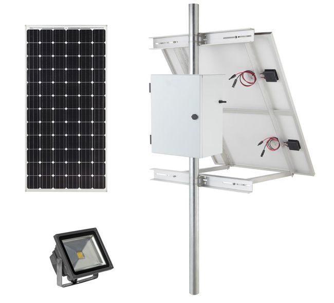 Earthtech Products Solar Sign & Landscape Light Kit - 1 Light (1200 Lumens), 50W Solar Panel, 55 Ah Battery - 14 Hour Run Time