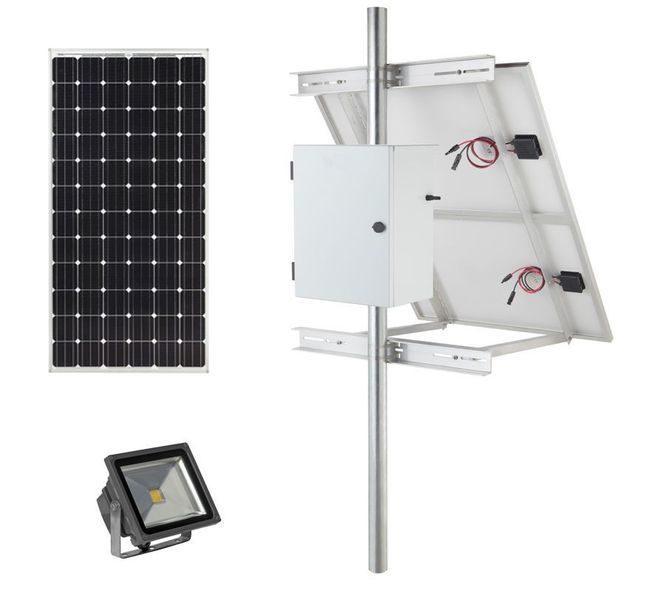 Earthtech Products Solar Sign & Landscape Light Kit - 1 Light (3600 Lumens), 1 - 100W Solar Panels, 85 Ah Battery - 8 Hour Run Time