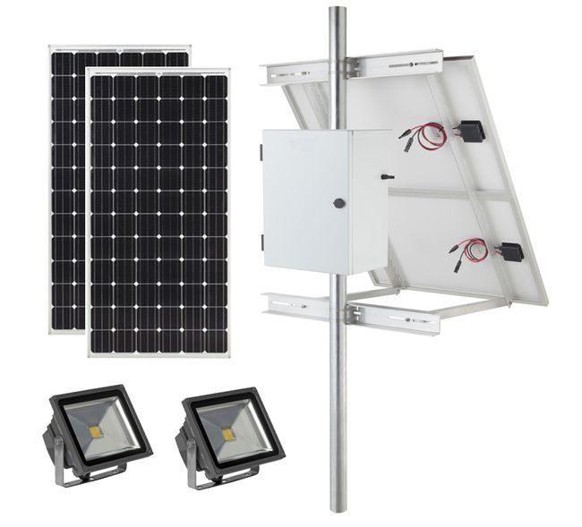 Earthtech Products Solar Sign & Landscape Light Kit - 2 Lights (12,000 Lumens Total), (2) 300W Solar Panels, (4) 115 Ah Batteries
