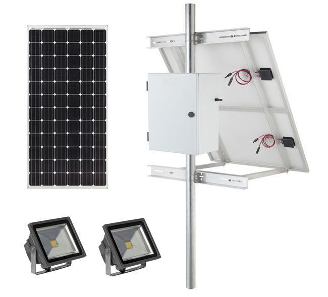 Earthtech Products Solar Sign & Landscape Light Kit - 2 Lights (4800 Lumens Total), 300W Solar Panel, (2) 105 Ah Batteries - 14 Hour Run Time