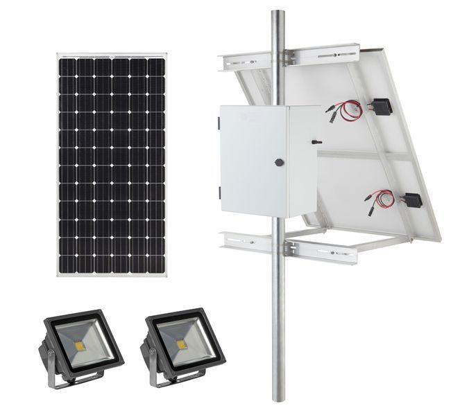 Earthtech Products Solar Sign & Landscape Light Kit - 2 Lights (7200 Lumens Total), 1 - 375W Solar Panel, (2) 140 Ah Batteries - 14 Hour Run Time