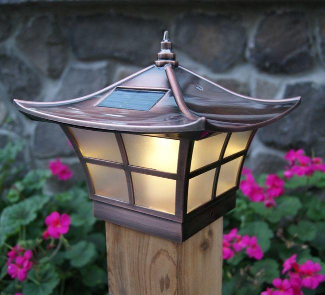 Classy Caps Ambience Solar Copper Post Cap Light