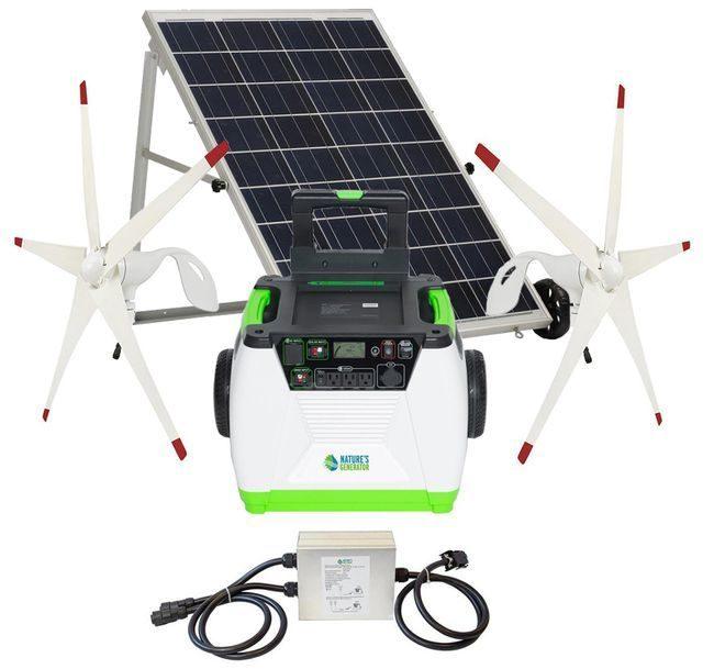 Natures Generator Portable 1800 Watt Solar and Dual Wind Generator Kit
