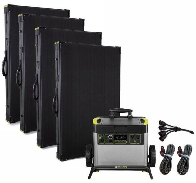 Goal Zero Yeti 3000X Lithium Lightweight Solar Generator Ultra Intake Kit with (4) Boulder 200 Watt Panels