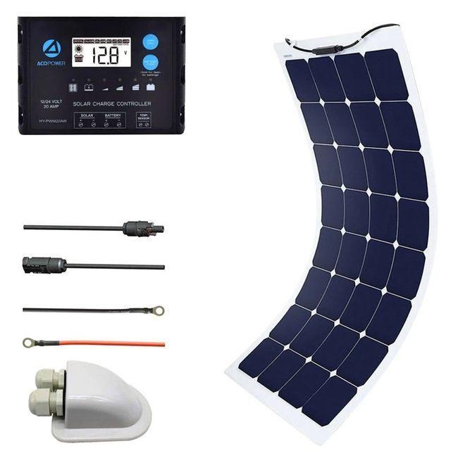 ACO Power 110 Watt Flexible Panel Solar Marine Kit