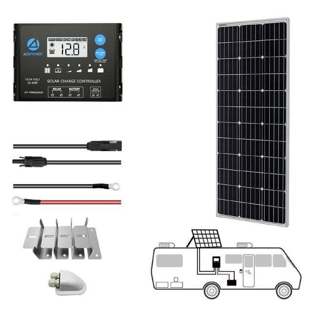 ACO Power 100W 12V Monocrystalline Solar RV Kit - 20A PWM Charge Controller