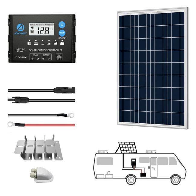 ACO Power 100W 12V Solar RV Kit - 20A PWM Charge Controller