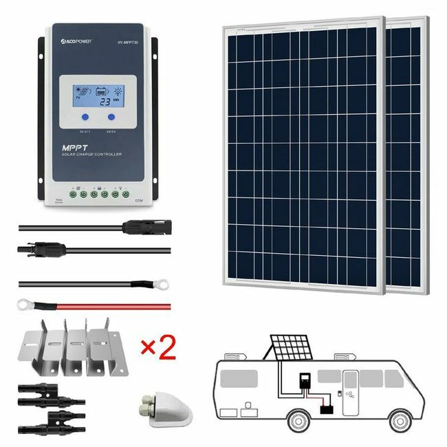 ACO Power 200W 12V Solar RV Kit - 30A MPPT Charge Controller
