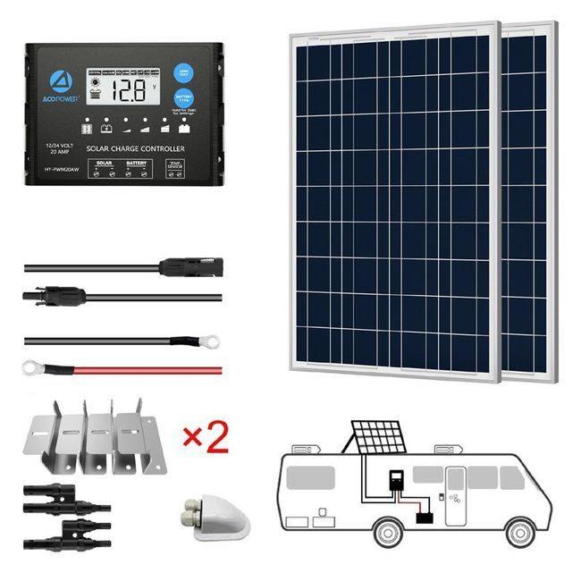ACO Power 200W 12V Solar RV Kit - 20A PWM Charge Controller