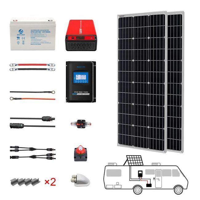 ACO Power 200 Watt Monocrystalline RV Solar Kit