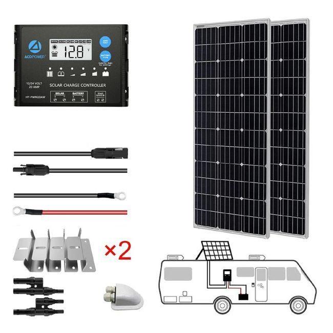ACO Power 200W Monocrystalline 12V/24V Solar RV Kit - 20A PWM Charge Controller