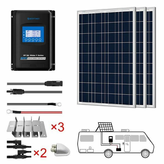 ACO Power 300W 12V Solar RV Kit - 30A MPPT Charge Controller