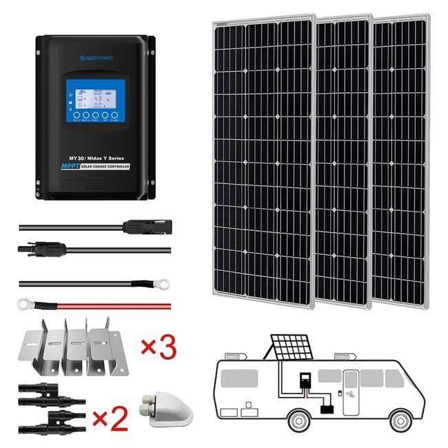 ACO Power 300W Monocrystalline 12V Solar RV Kit - 30A MPPT Charge Controller
