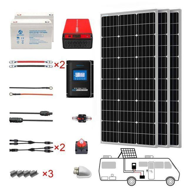 ACO Power 300 Watt Monocrystalline RV Solar Kit