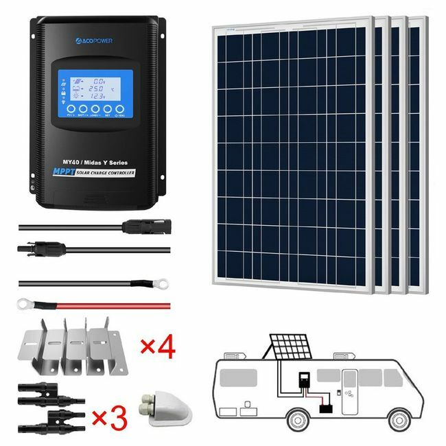 ACO Power 400W 12V Solar RV Kit - 40A MPPT Charge Controller
