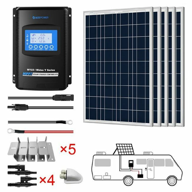 ACO Power 500W 12V Solar RV Kit - 40A MPPT Charge Controller