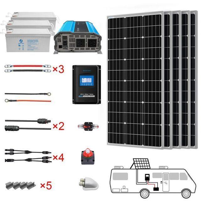 ACO Power 500 Watt Monocrystalline RV Solar Kit