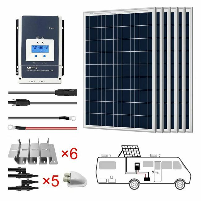 ACO Power 600W 12V Solar RV Kit - 50A MPPT Charge Controller