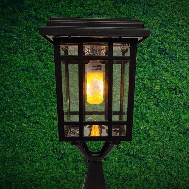 Flicker Flame Prairie Bulb Solar Lamp Post Light in Black