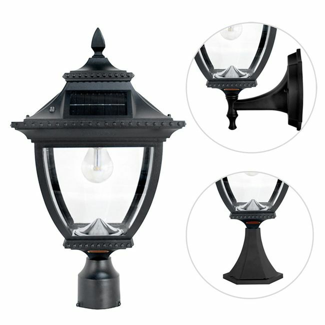 Gama Sonic Pagoda Bulb Solar Lamp - With Pole, Post & Wall Mount Kit