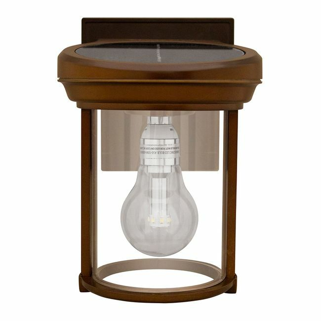Gama Sonic Solar Coach Lantern with GS Solar LED Light Bulb with Red Copper Finish