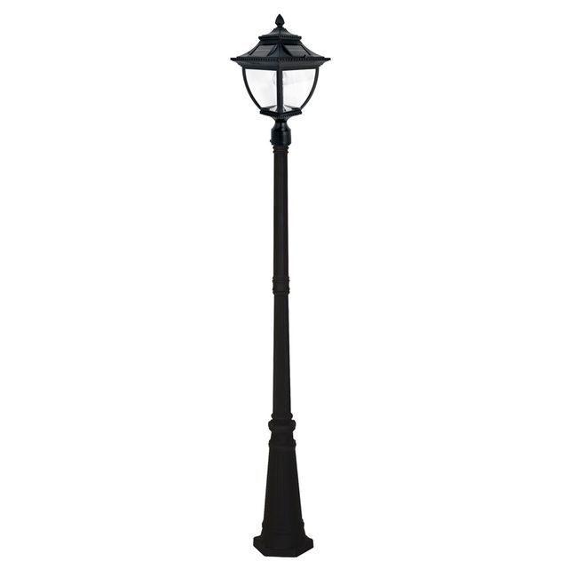 Pagoda Bulb Solar Lamp Post - Black